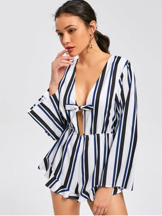Bow Tied Long Sleeve Stripes Romper