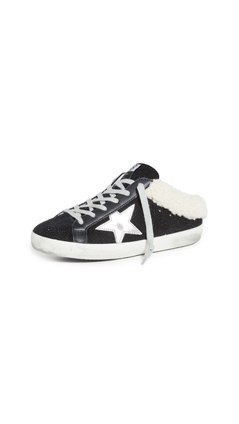 Golden Goose Sabot Sneakers in black / silver / beige
