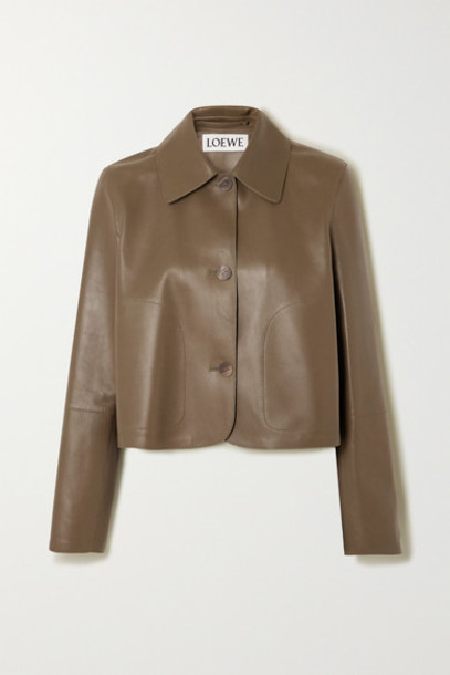 Loewe - Cropped Leather Jacket - Green