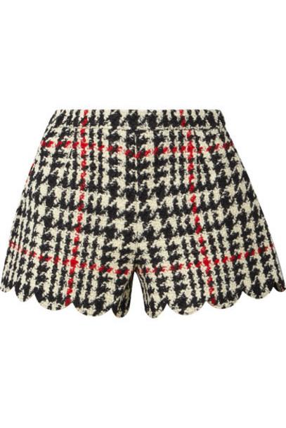 REDValentino - Scalloped Houndstooth Wool-blend Bouclé Shorts - Black