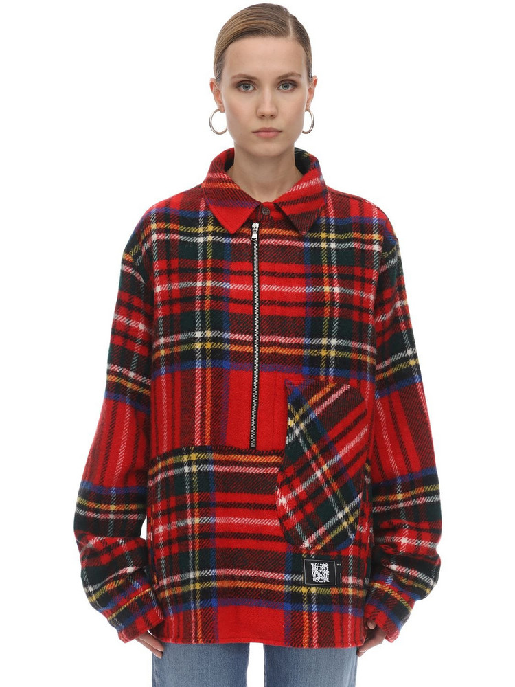 WE11 DONE English Check Anorak Shirt in red