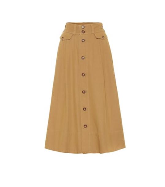 Polo Ralph Lauren Cotton-blend twill midi skirt in brown
