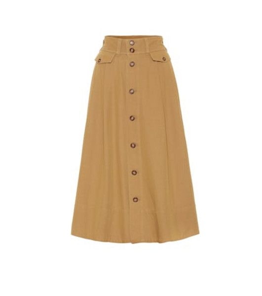 Polo Ralph Lauren Cotton-blend twill midi skirt in brown