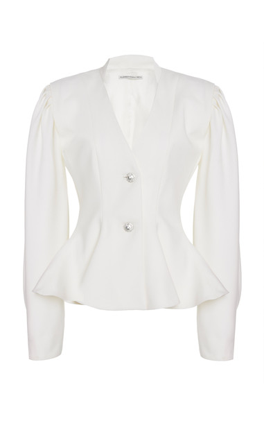 Alessandra Rich Wool Peplum Jacket in white
