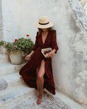 dress,wrap dress,zebra,red dress,long sleeve dress,maxi dress