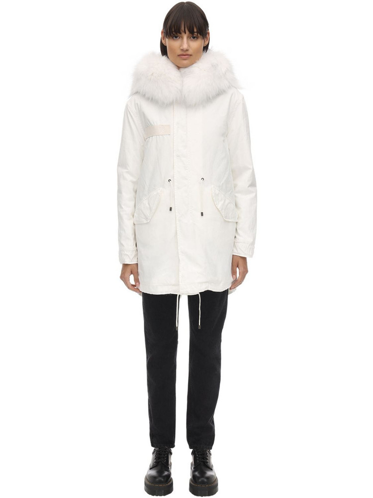 MR & MRS ITALY Patchshadow Reversible Down Jacket W/fur in white