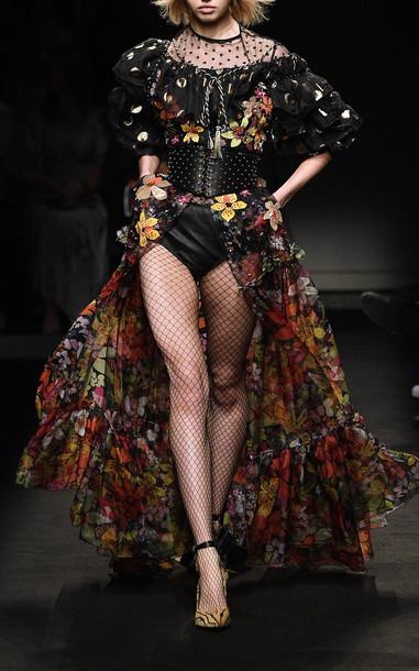 Dundas Floral Printed Maxi Skirt in multi