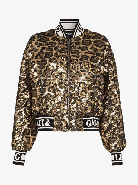 Dolce & Gabbana sequin embellished leopard print bomber jacket