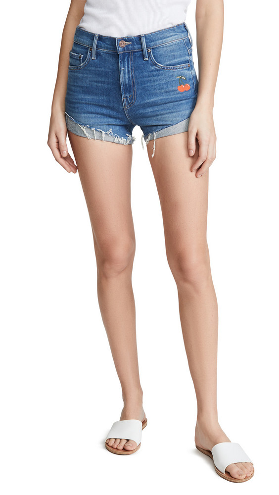 MOTHER The Rascal Slit Flip Shorts in gold