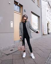 jacket,blazer,plaid,white sneakers,trainers,black skinny jeans,black hoodie,shoulder bag,sunglasses,streetstyle