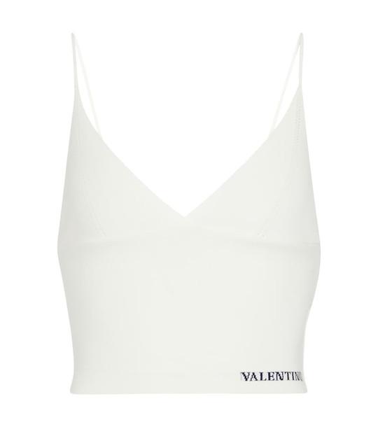 Valentino Stretch-knit crop top in white