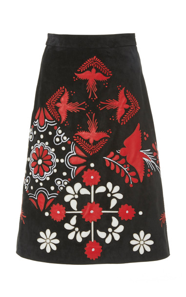 Red Valentino Embroidered Suede Skirt Size: 42 in black