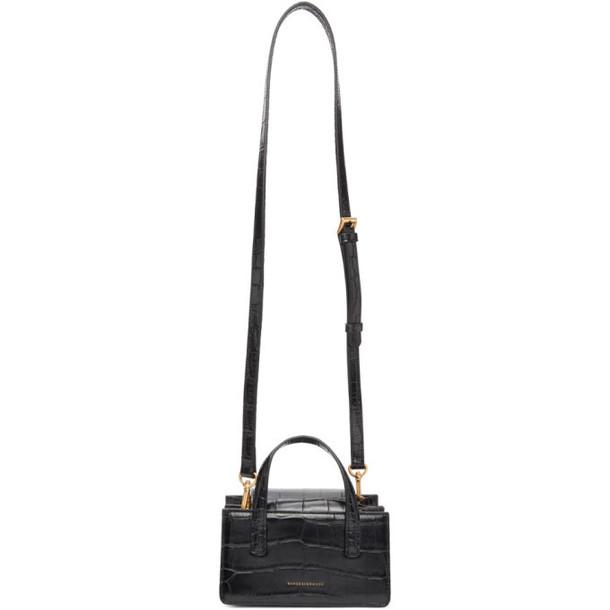 Marge Sherwood Black Croc-Embossed Mini Grandma Bag