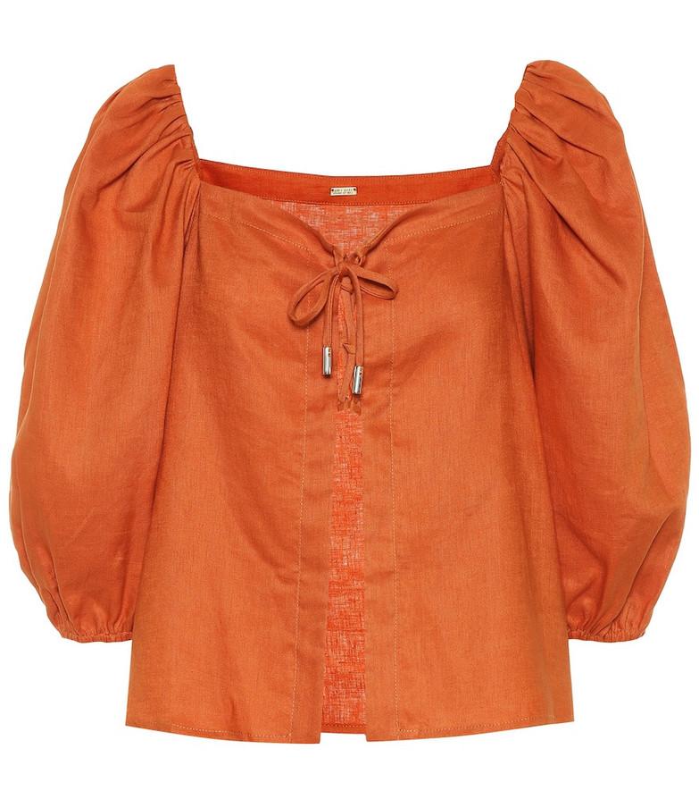Cult Gaia Aurel linen top in orange