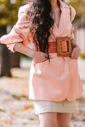 hallie daily,blogger,belt,jacket,skirt,shoes,sunglasses,bag,jewels