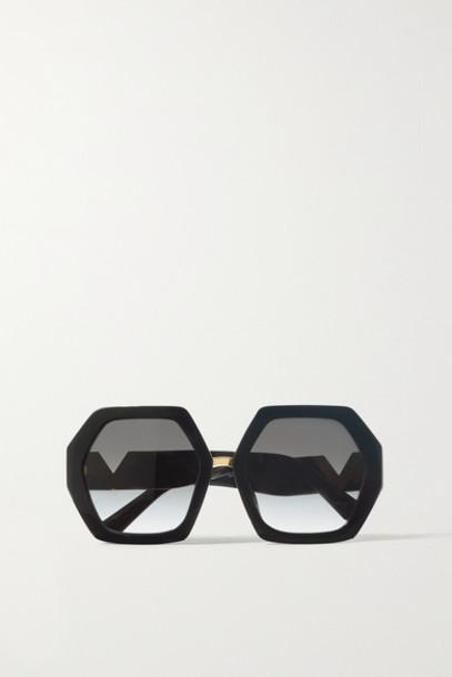 Valentino - Valentino Garavani Hexagon-frame Acetate And Gold-tone Sunglasses - Black