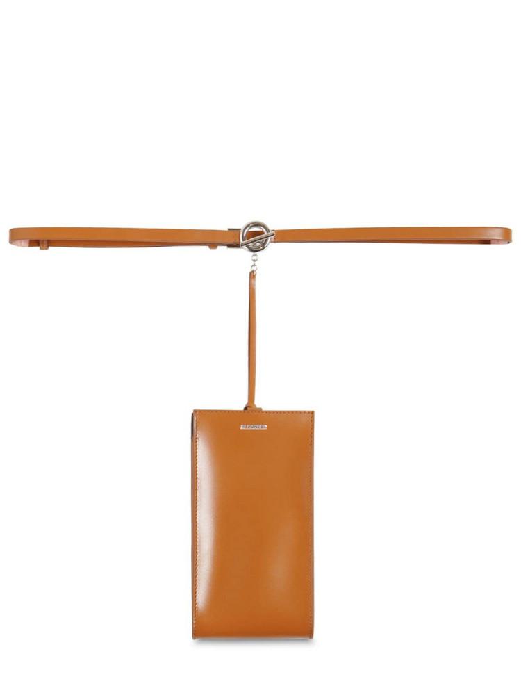 JIL SANDER Mini Leather Bag Belt in tan
