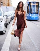 dress,slip dress,slit dress,white sandals,midi dress,wood,handbag