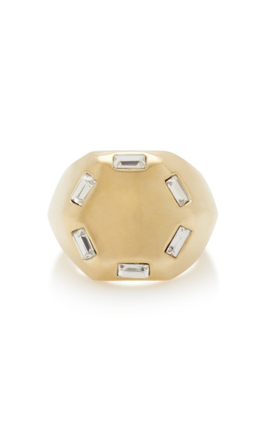 Lulu Frost Meta Gold-Plated Crystal Ring Size: 7
