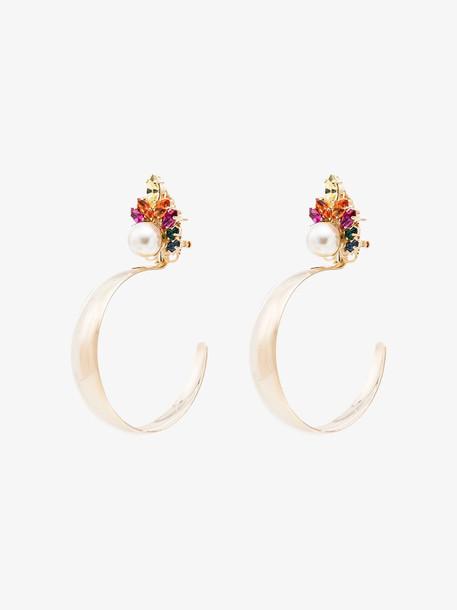 Anton Heunis multicoloured crystal cluster hoop earrings in gold