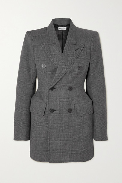 Balenciaga - Hourglass Double-breasted Prince Of Wales Checked Wool Coat - Gray