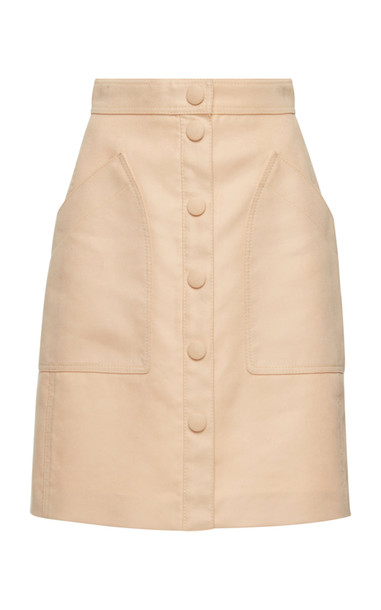 Bottega Veneta Button Front Velvet Cotton Skirt in pink