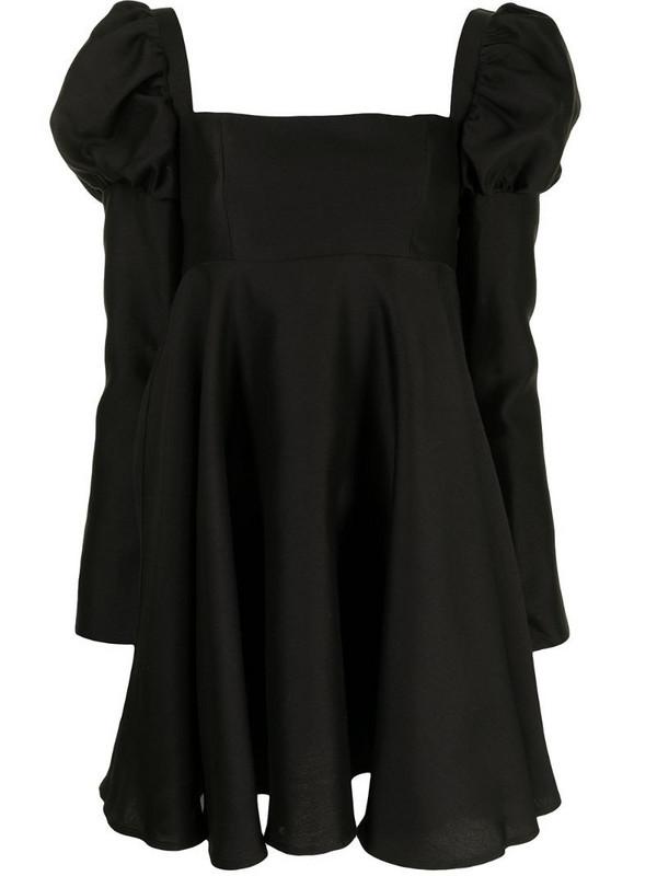Macgraw Swifts puff-sleeve mini dress in black