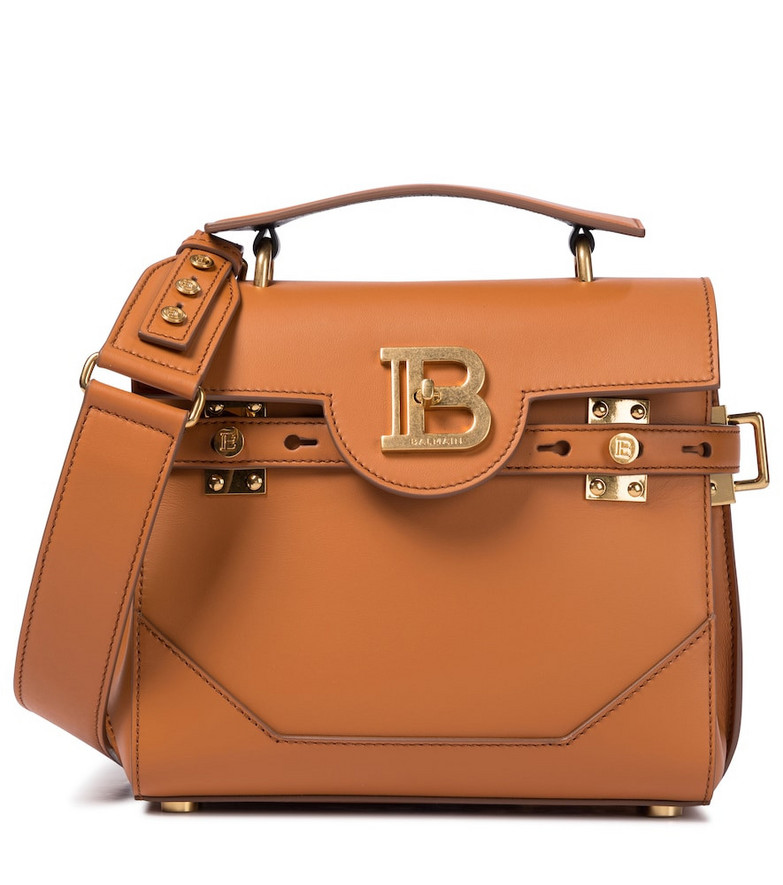 Balmain B-Buzz 23 Small leather shoulder bag in brown