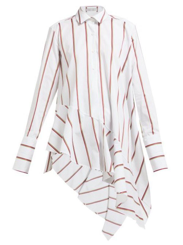 Palmer/harding Palmer//harding - Spicy Asymmetric Hem Cotton Poplin Shirt - Womens - White Multi