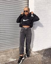 sweater,hoodie,cropped hoodie,nike,black jeans,high waisted jeans,black belt,black sneakers,black sunglasses,black bag