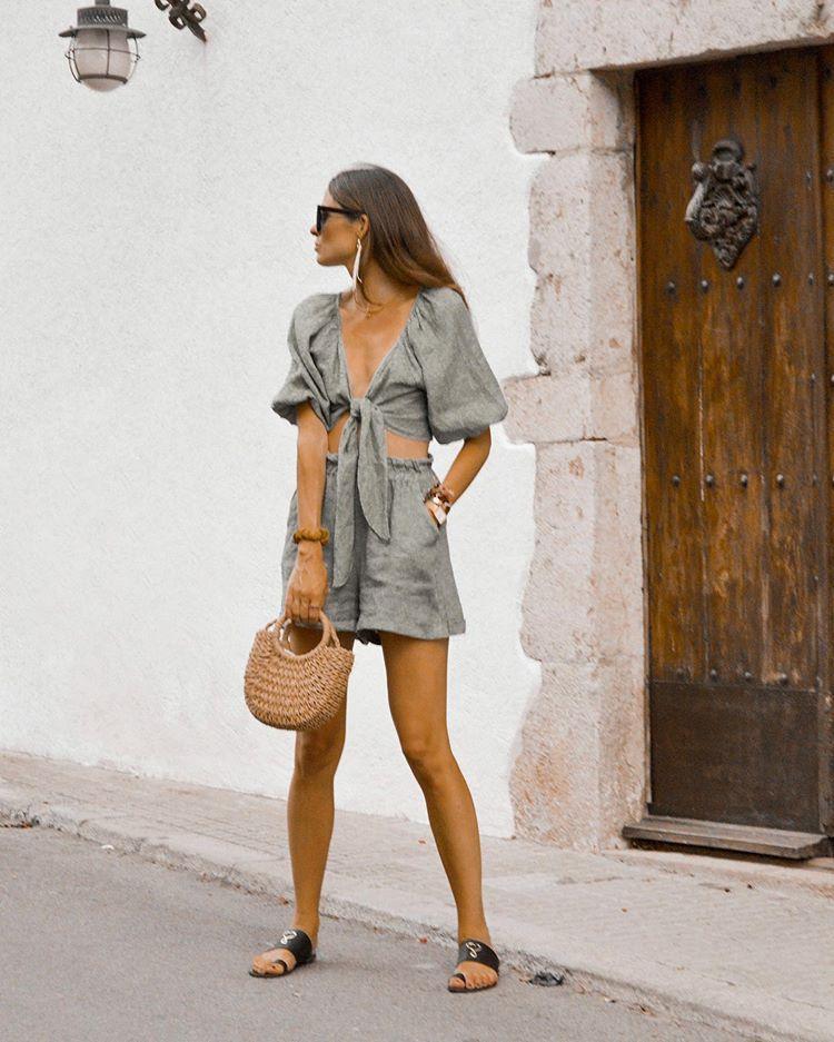 shorts grey shorts crop tops set black sandals isabel marant woven bag