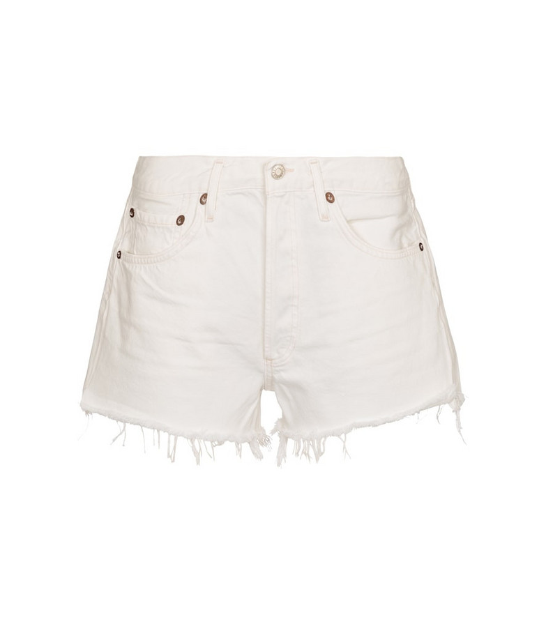 Agolde Parker mid-rise denim shorts in white