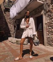 dress,shirt dress,sleeveless dress,mini dress,white dress,slide shoes,loewe bag