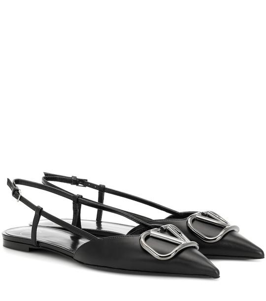 Valentino Garavani VLOGO slingback leather ballet flats in black