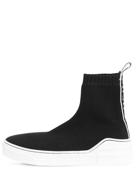 GIVENCHY 20mm Geroge V Knit High Top Sneakers in black