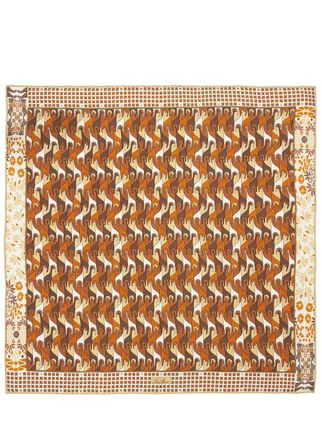 LORO PIANA Printed Silk Scarf in brown