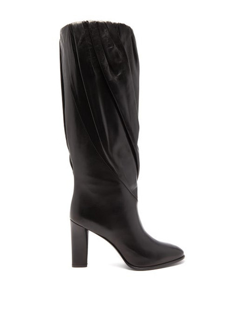 Givenchy - Gathered Knee High Leather Boots - Womens - Black
