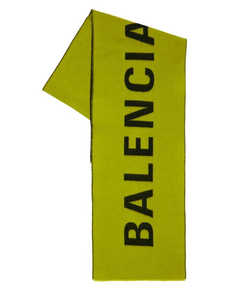 BALENCIAGA Logo Jacquard Wool Scarf in green