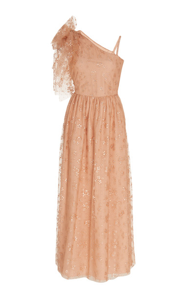 Red Valentino Ruffle-Detailed Floral-Embroidered Organza Dress Size: 3 in pink