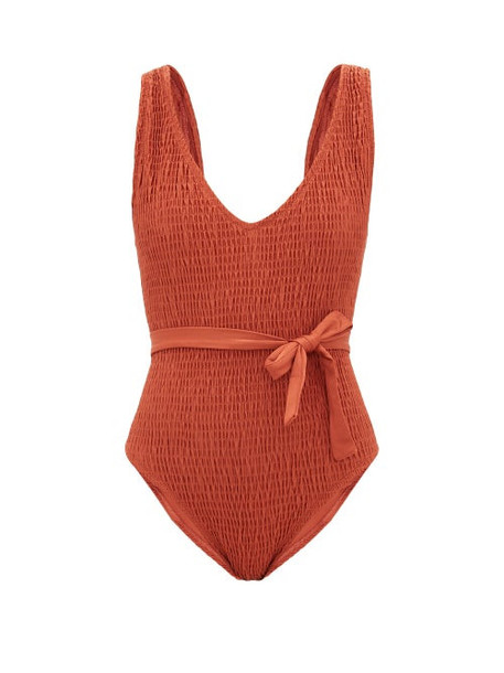 Solid & Striped - Michelle Shirred Belted Swimsuit - Womens - Red
