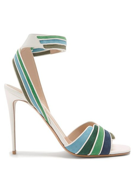 Valentino - Striped Leather And Suede Sandals - Womens - White Multi