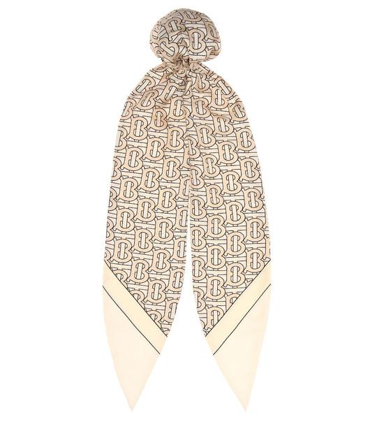 Burberry Logo silk-twill hair scarf in beige