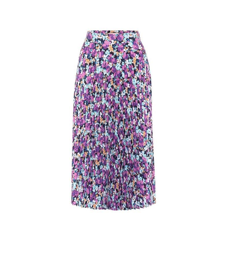 Plan C Floral pleated midi skirt in purple