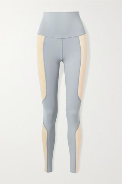 Live The Process - Geometric Two-tone Stretch-supplex Leggings - Lilac