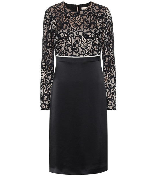 Tory Burch Lace and satin midi dress in black