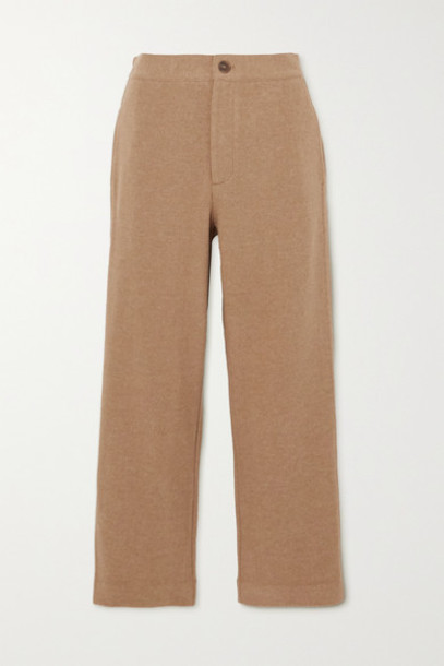 Vince - Cropped Stretch-knit Tapered Pants - Camel