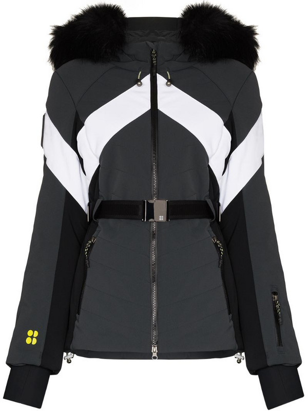 Sweaty Betty panelled hooded ski jacket in grey