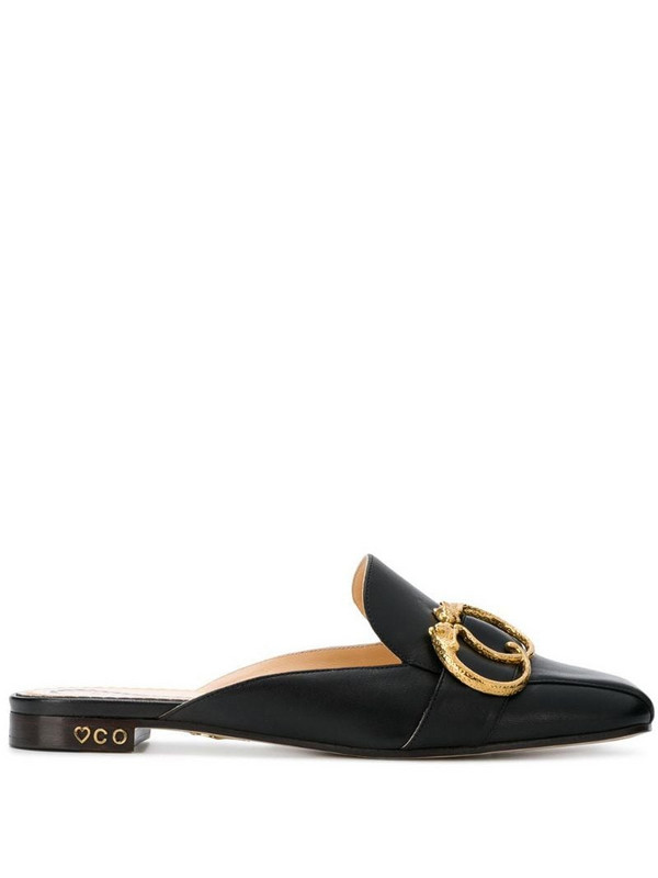 Charlotte Olympia buckle detail mules in black