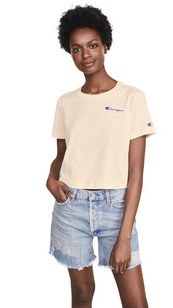 Champion Premium Reverse Weave Cropped Crew Neck T-Shirt in white