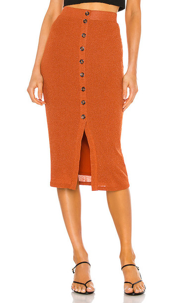 Privacy Please Kayleigh Midi Skirt in Rust in metallic